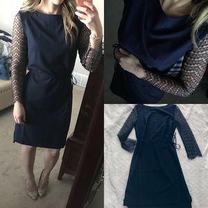 NWT lace sleeve navy shift dress xs s